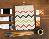 60% OFF Winter SALE White Linen iPad Case with colorful chevron print pocket. Padded Cover for iPad 1 2 3 4. iPad Sleeve Bag.