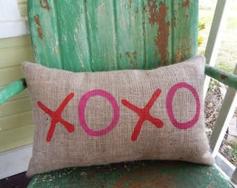 XOXO in Red and Hot Pink Hugs and Kisses Valentines Day Burlap Throw Accent Pillow Wedding Anniversary Gift Home Decor