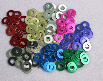 100 Anodized Aluminum Washers for Chainmail Jewelry Choose your Color
