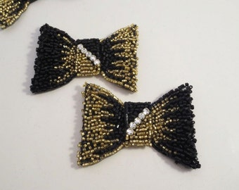 Black Gold Beaded Bow Appliques with Stones--One Pair