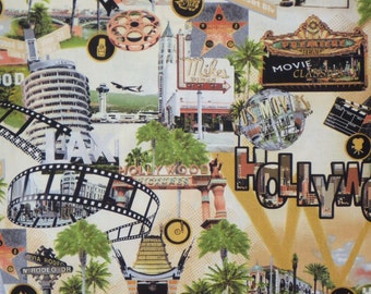Neutral Hollywood Scenic Print Pure Cotton Fabric--One Yard