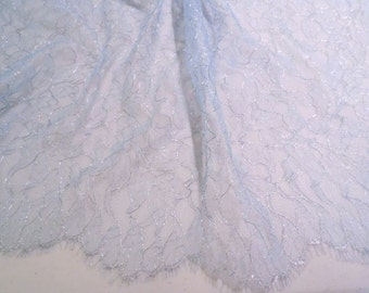Baby Blue and Metallic Silver Leavers Chantilly Lace Fabric--One Yard
