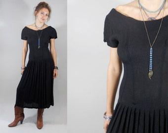 Vintage 1980s Black Boho Dress with Low Back
