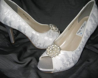 Wedding Shoes Ivory or White Bridal Shoes with Lace and Crystals and Pearls