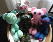 Custom Crochet Toy Teddy Bear Love Doll Heart Valentine's Easter Birthday custom