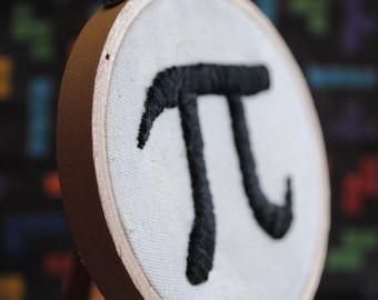 "Pi Symbol - 3"" Mini Hand Embroidery"