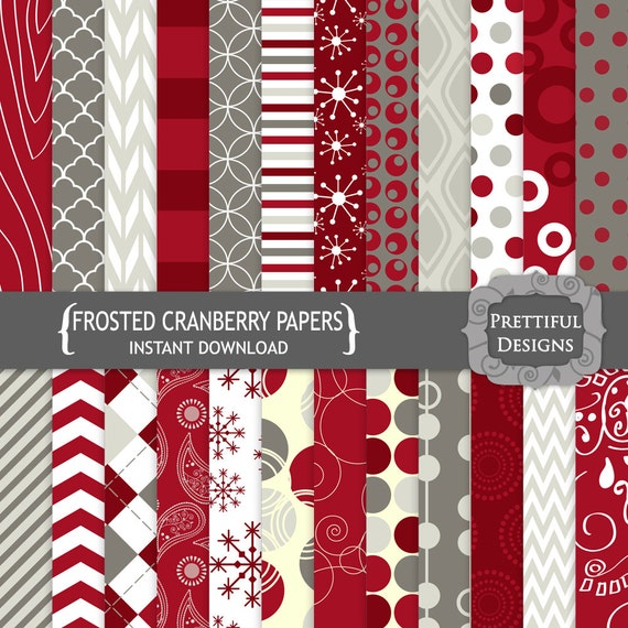 50% off SALE Digital Scrapbooking Papers - Frosted Cranberries (769)
