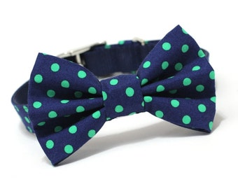 Bow Tie Dog Collar, Dog Bowtie- Prepster Navy and Green Dots