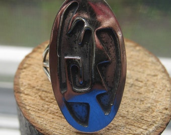 Vintage Southwestern Design Sterling Silver Old Pawn Ring Size 7 Unique Native American Style Ladies Womens