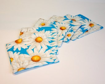 Coaster Fabric Coasters Mug Rug Bright summer daisy daisies Set of 6  Reversible blue and white with yellow