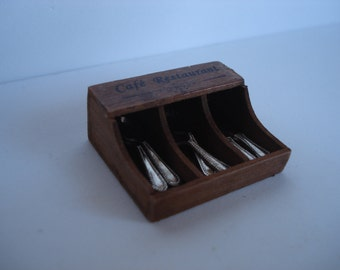 Miniature wooden box for cutlery