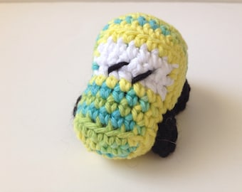 Blue Yellow Green Crochet Race Car Amigurumi VW Bug