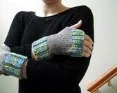 Grey Organic Merino Wool Handknit Fingerless Gloves with Multicolor Wool Blend Contrast Stripes - Blue Yellow Orange Purple Ribbed Cuffs