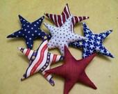 6 Patriotic Fabric Stars July 4th Americana Primitive Ornaments Bowl Fillers