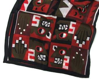 Vintage Geometric Silk Scarf, Aztec Textile Inspired, Boston Museum of Fine Arts, Olive Brick Brown Fabric