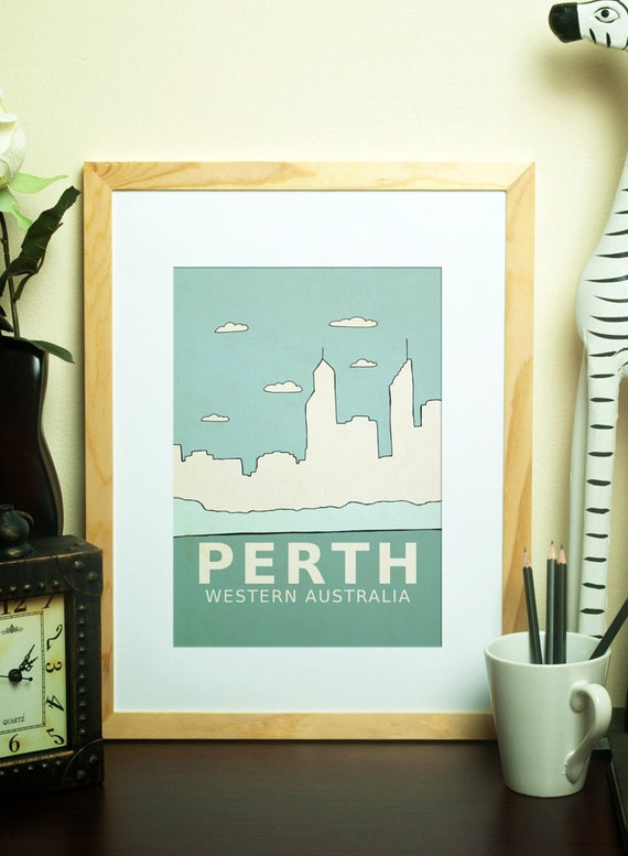 Perth // Typographic Print, Nursery Art, Kids Art Poster, Wall Decor, Australia, City Skyline, Giclee, Travel Theme, Map, Digital Print