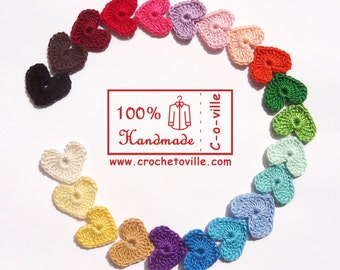 Crochet HEARTS Appliques, RAINBOW Little Tiny Colorful Hearts, Decorations, Ornaments, Embellishments as Gift Tags, Valentines