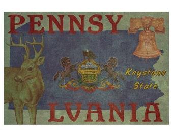 PENNSYLVANIA 1FS- Handmade Leather Photo Album - Travel Art