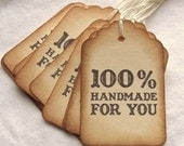 100% Handmade For You Tags - Vintage Inspired, Brown, Cream, Hand Aged 8