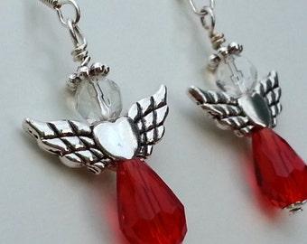 Native American Beaded Earrings - Heart Wing Angels - Red