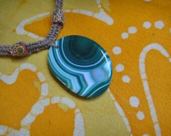 African Beaded Green Geode Hemp Necklace