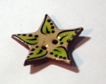 Handmade ceramic buttons -  pair of black and  yellow star handpainted pottery buttons C35