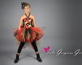 Halloween Circus Ringmaster Bustle Tutu, Corset Inspired Top & Mini Top Hat...Ring Master Pageant Costume for Girls
