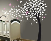 ursery Wall Decal - Wall decals nursery - Blossom Tree Decal. Blowing Tree Wall Decal. Cherry Blossom Decal. Girl Tree Decal