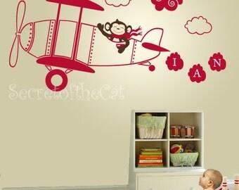 Aeroplane nursery decal Monogram Wall Decal Monkey Decal Baby Wall Decals Aeroplane