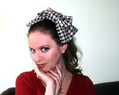 Giant Hair Bow - Oversized Sparkle Black and White Grid Bow Hair Clip