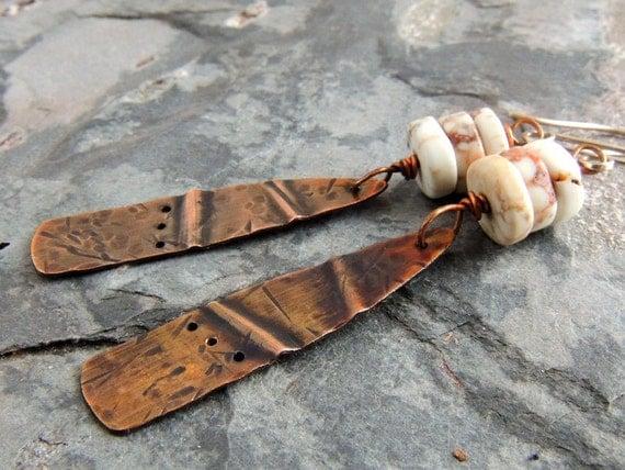 Rustic Copper Folded Earrings, White Magnesite Gemstone Rondelles, Textured Dangle Earrings