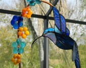 Hummingbird Stained Glass Suncatcher and Fused Glass Flowers Custom Order