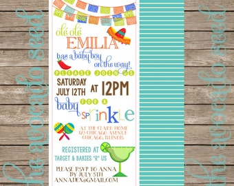 Olé Olé a Baby is on the Way! Mexician Spanish Fiesta Baby Shower Invitations - Professional Prints or DIY 3 Size Options!