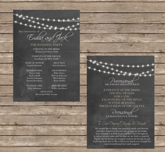 Chalkboard Wedding Ceremony Program Cards DIY Or Professional