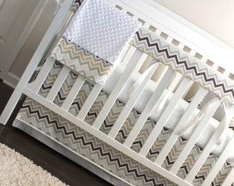 Custom Crib Bedding. Zoom white & grey Bumperless Crib rail bedding collection.