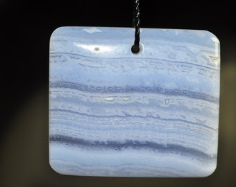 26x29x5mm Natural Blue Lace AGATE CHALCEDONY Rectangle Focal Pendant - B0802