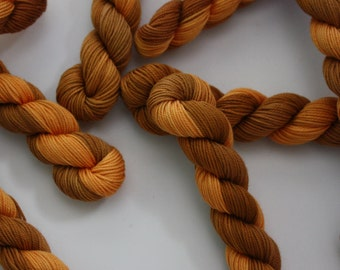 Embroidery Thread - Brodery Cotton Yarn - Hand Dyed Variegated Chestnut and Tan - Skein Ref. 202