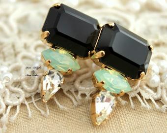 Black Mint Geometric Rhinestone stud earrings classic jewelry, Black Gold stud earrings, Swarovski earrings, Every day stud earrings, studs
