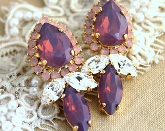Purple Pink Opal statement earrings, Violet purple long earrings, Purple Swarovski earrings, Bridal earrings, Wedding jewelry, purple studs