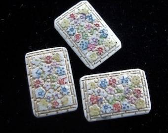 BWB Teeny Little Treasure Vintage Folkloric Persian Carpet Style Glass Cabochon (1) 15x10mm