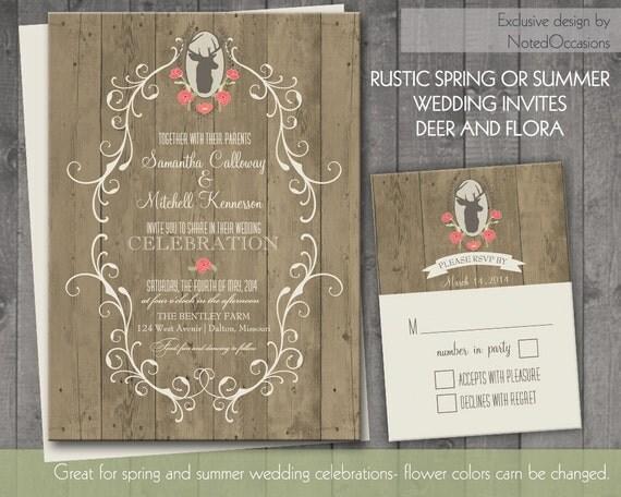 Deer Wedding Invitations: Rustic Floral Deer Wedding Invitation