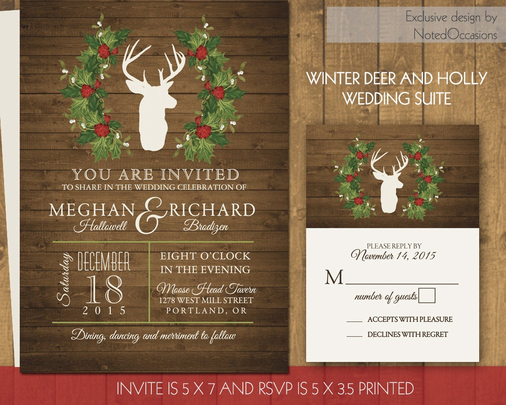 Deer Wedding Invitations: Rustic Winter Wedding Invitations Deer And By NotedOccasions