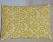 CLEARANCE: Yellow and White Premier Prints Damask 12x16 Lumbar Pillow Cover