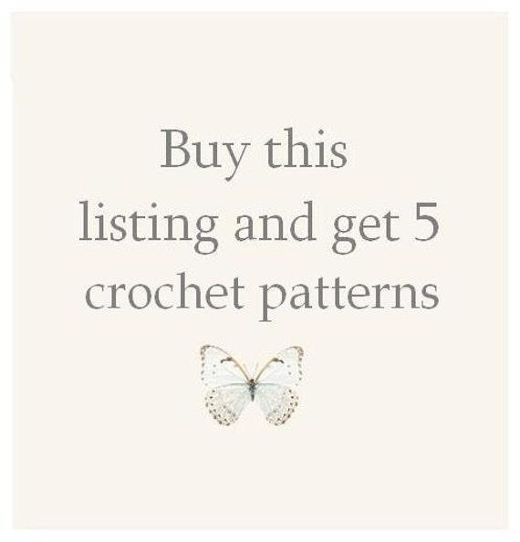 CROCHET PATTERN - super sale of five 5 crocheting patterns bundle offer
