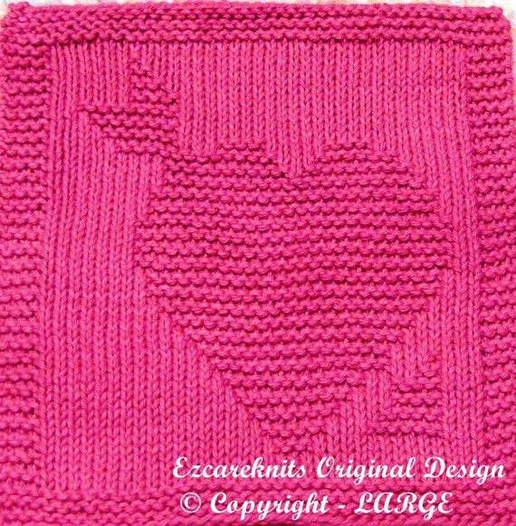 Big Heart Knitting Pattern : Large Knitting Cloth Pattern HEART and ARROW PDF