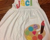 Back to School Dress Paint Palette Applique, Paint Dress, Toddler Dress or Girl's Dress- Choose Dress Color and Sleeve Length
