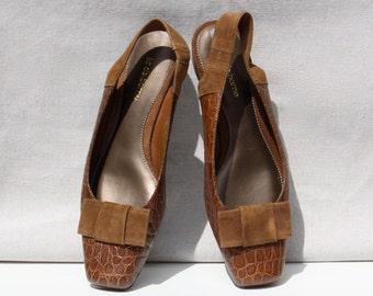 Brown Leather Slingback Shoes - Suede Bow Detail - Vintage Liz Claiborne - Shoe Size 8M