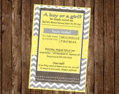 YELLOW, WHITE & GRAY Baby Shower Invitation Card, free customization, printable Hi-Res Design