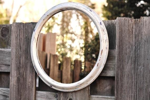 Distressed Vintage Round Wall Mirror Wooden Bright White Blue