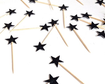 24  Petite Black Glitter Star Cupcake Toppers - Food Picks - Party Picks